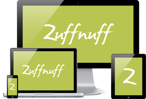 Zuffnuff Logo on 4 different screen sizes